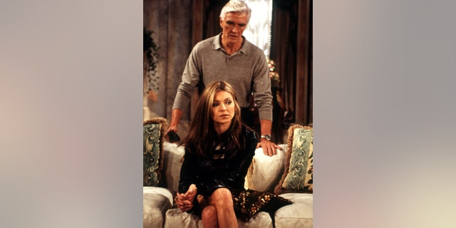 Adam (David Canary) and Hayley (Kelly Ripa) in a scene from 'All My Children.'