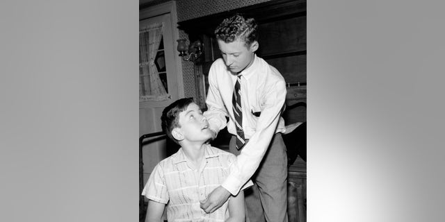 L-R: Jerry Mathers, Ken Osmond on the set of 'Leave It to Beaver.'