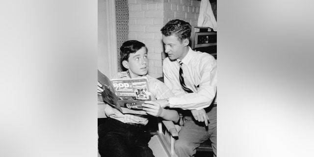Jerry Mathers (left) and Ken Osmond in 'Leave It to Beaver,' circa 1957.