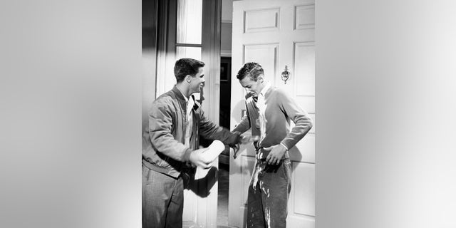 L-R: Tony Dow, Ken Osmond on the set of 'Leave It to Beaver.'