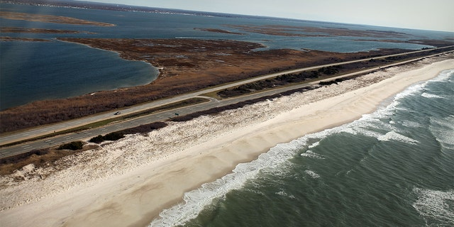 WANTAGH, NY - APRIL 15: An aerial view of the area near Gilgo Beach and Ocean Parkway on Long Island where police conducted a prolonged search after finding ten sets of human remains. (Photo by Spencer Platt/Getty Images)