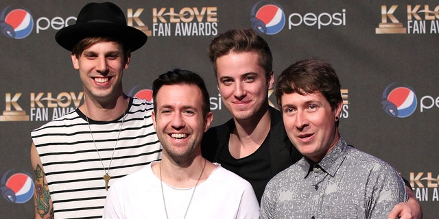 NASHVILLE, TN - MAY 31: Jon Steingard, David Niacaris, Micah Kuiper, and Daniel Biro of musical group Hawk Nelson speak onstage in the press room during the 3rd Annual KLOVE Fan Awards at the Grand Ole Opry House on May 31, 2015 in Nashville, Tennessee. (Photo by Terry Wyatt/Getty Images for KLOVE)
