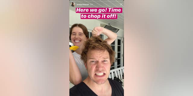 Chris Pratt about to get a haircut from wife Katherine Schwarzenegger.