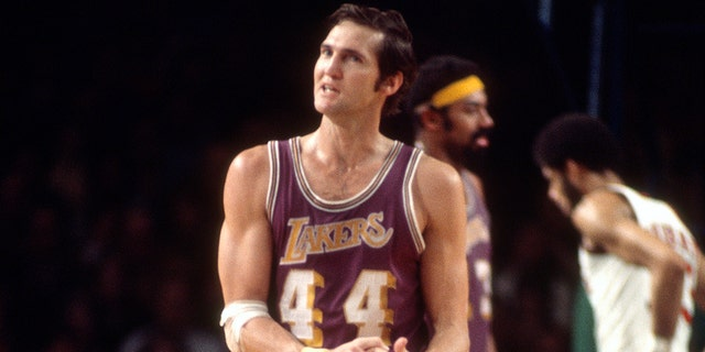 Los Angeles Lakers all-time great Jerry West is locked in at No. 13. (Photo by Focus on Sport/Getty Images)