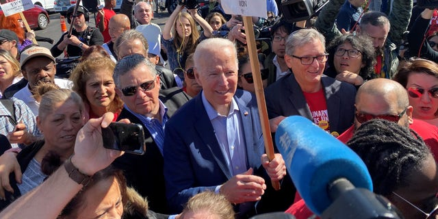 Former Vice President Joe Biden joins striking Culinary Union workers on the picket lines in Las Vegas, Nevada on Feb. 19, 2020