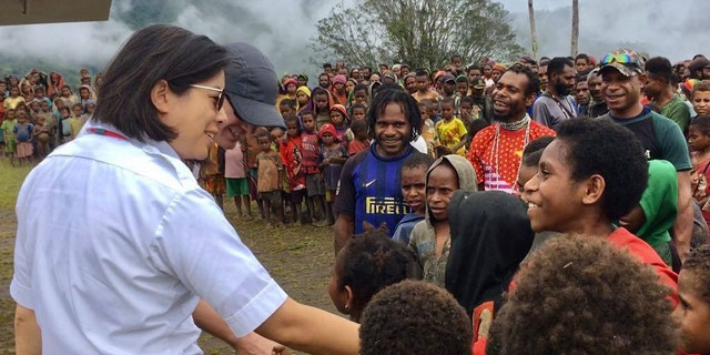 Joyce Lin with a crowd in Indonesia.