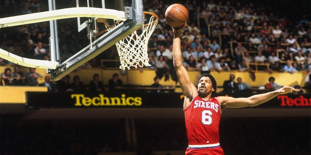 """Julius Erving, nicknamed """"Dr. J"""", is No. 14 on the list of the greatest players in NBA history. (Photo by Focus on Sport via Getty Images)"""