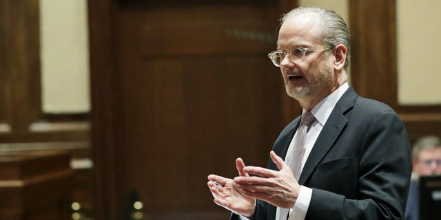 Lawrence Lessig, an attorney representing three Washington state presidential electors, speaks Tuesday, Jan. 22, 2019, during a Washington Supreme Court hearing in Olympia, Wash., on a lawsuit addressing the constitutional freedom of electors to vote for any candidate for president, not just the nominee of their party. (AP Photo/Ted S. Warren)