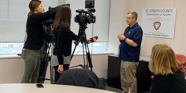 St. Joseph County deputy health officer, Dr. Mark Fox, as he spoke to the media about COVID-19 in March.