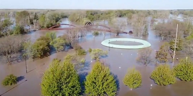 This footage, filmed by Anthony Clark on May 20, shows an aerial view of floodwaters in Midland, Michigan, after two dams were overtaken following heavy rainfall, forcing the evacuation of communities downstream.