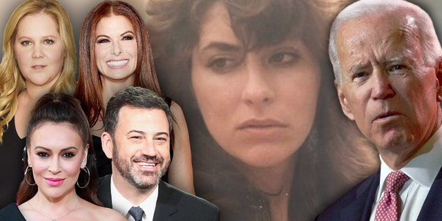 Celebrities who defended former Vice President Joe Biden (right) or stayed silent on the sex-assault claim by Tara Reade included (top row, left to right) Amy Schumer, Debra Messing, (bottom row, left to right) Alyssa Milano and Jimmy Kimmel.