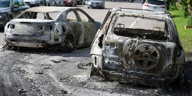 The aftermath of riots Friday in Minneapolis. (Brian Peterson/Star Tribune via AP)