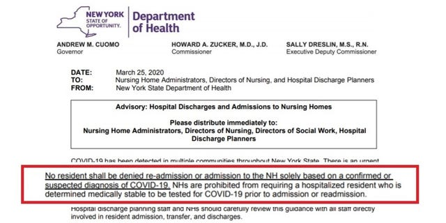 Excerpted here, Governor Andrew Cuomo's deadly nursing-home regulation is missing from the state Health Department's website, but remains available via WaybackMachine.org