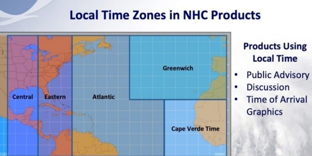 A breakdown of the local time zones in the Atlantic basin.