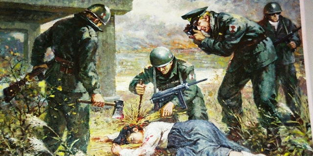A painting displayed at a North Korean museum showing Westerners attacking a Korean girl.