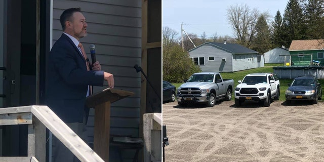 Pastor Samson Ryman, who leads Central Bible Baptist Church in upstate New York, was threatened by the Massena Police Department that he could face a $1,000 fine for violating Gov. Cuomo's stay-at-home orders.