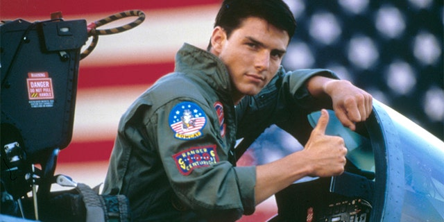 American actor Tom Cruise on the set of 'Top Gun,' directed by Tony Scott.