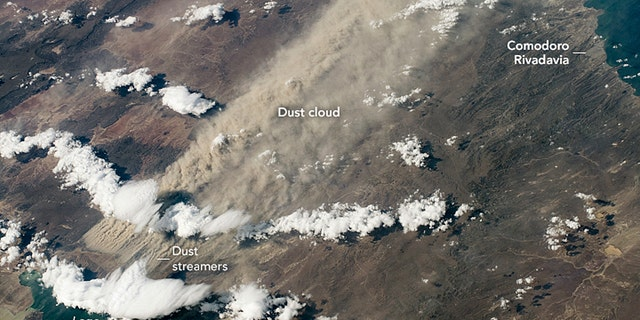 A large dust storm can be seen over southern Argentina on March 7, 2020.