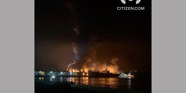 A large fire broke out at a warehouse along the San Francisco waterfront early Saturday morning.