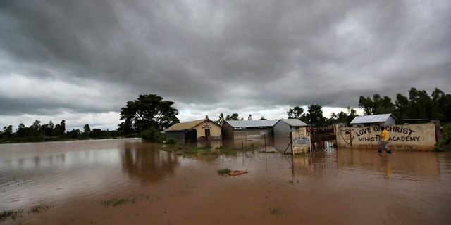 A general view shows a flooded church compound after River Nzoia burst its banks and due to the backflow from Lake Victoria, in Nyadorera, Siaya County, Kenya May 2, 2020.