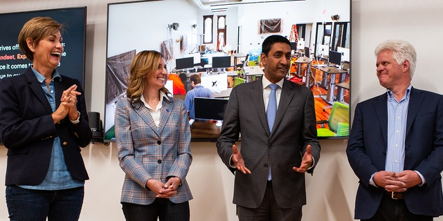 Rep. Ro Khanna, D-Calif., with Iowa Gov. Kim Reynolds [far left] and others at the Grand Opening of the Forge in Iowa on Sept. 7, 2019.
