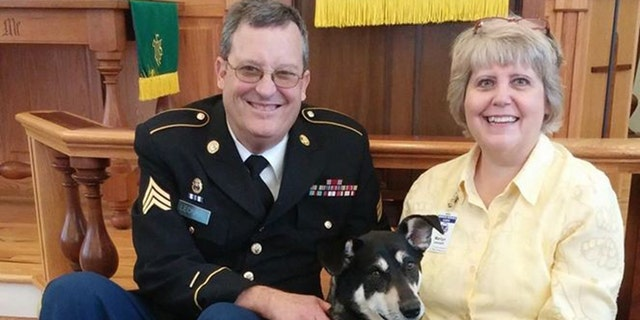 Canines for Christ Chaplain Ron Leonard, Ret. Army National Guard, with his wife, Marilyn, and their adopted Therapy Dog Molly.