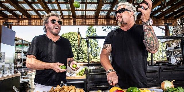 Sammy Hagar and Guy Fieri previously collaborated on a tequila for Hagar's line of spirits. However, Fieri's shrimp recipe surprisingly contains no tequila.