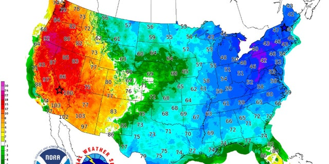 A contrast between temperatures on the West and East Coast on Saturday as a portion of the polar vortex brings bitter cold air to the Northeast.