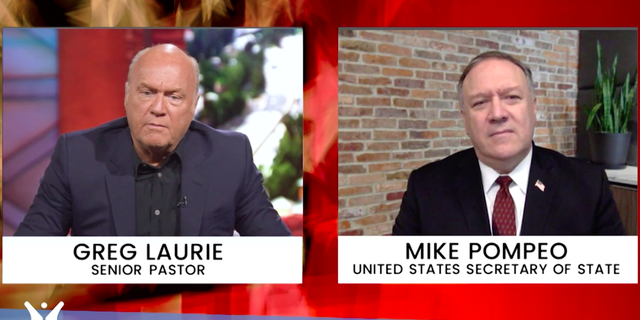 Greg Laurie, pastor of Harvest Christian Fellowship in California, interviewed Secretary of State Mike Pompeo during Sunday's online church service.