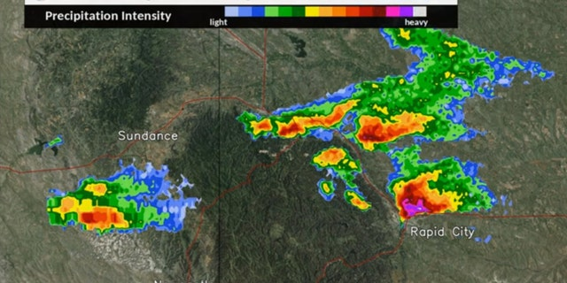 Severe thunderstorms brought large hail to western South Dakota and into Wyoming on Sunday.