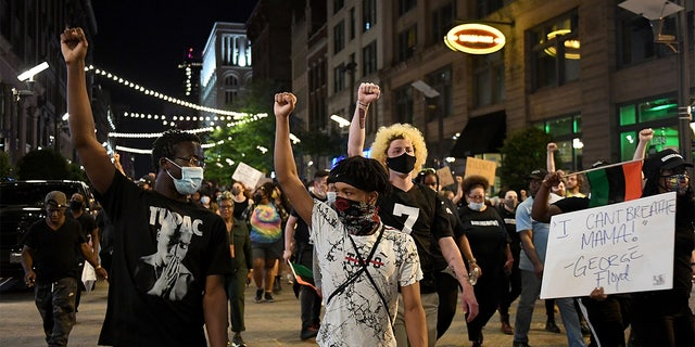 ST LOUIS, MO - MAY 29: Protesters rally as they march through the streets on May 29, 2020 in St Louis, Missouri. Demonstrations are being held across the US after George Floyd died in police custody on May 25th in Minneapolis, Minnesota. (Photo by Michael B. Thomas/Getty Images)