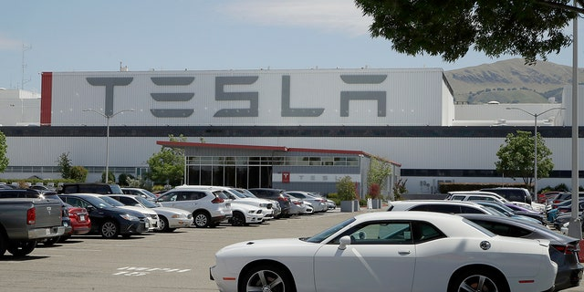 Tesla's employee parking lot was crowded on Monday.