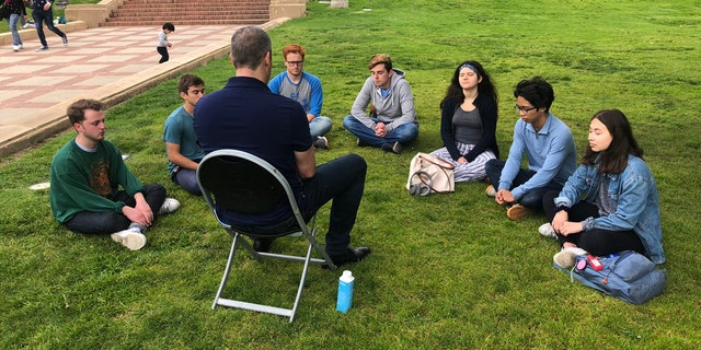 Rep. Tim Ryan, D-Ohio, meditating with students at UCLA. (Photo courtesy of Rep. Tim Ryan's office.)