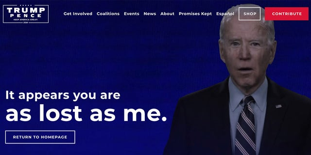 POLITICS: Even Trump campaign's 404 page is a brutal swing at Biden