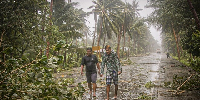 Residents brave rains and strong wind as they walk past uprooted trees along a highway in Can-avid town, Eastern Samar province, central Philippines on May 14, as Typhoon Vongfong makes landfall.