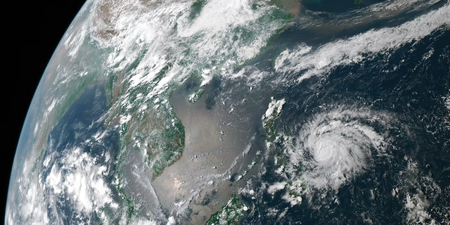 Typhoon Vongfong, the first typhoon of the 2020 Western Pacific typhoon season, swirls off the eastern Philippines on May 13, 2020.