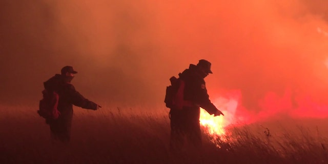 Employees of the Russian Emergencies Ministry fighting wildfires. Transbaikal Territory, Russia - April 27, 2020.