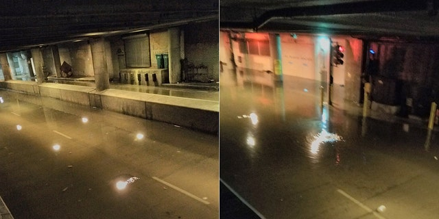 Flooding from heavy rainfall caused water to inundate Lower Wacker Drive in the Loop area of Chicago on Sunday.