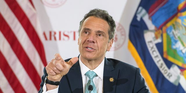 New York Gov. Andrew Cuomo briefs the media at Marist College, on Friday, May 8. (AP/Office of Governor Andrew M. Cuomo)