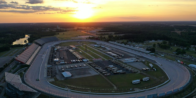 DARLINGTON, SOUTH CAROLINA - MAY 16: The sun sets at Darlington Raceway on May 16, 2020 in Darlington, South Carolina. NASCAR is preparing to resume the season with a race tomorrow after the nationwide lockdown due to the ongoing Coronavirus (COVID-19). (Photo by Chris Graythen/Getty Images)