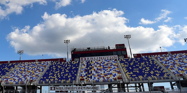 DARLINGTON, SOUTH CAROLINA - MAY 16: A general view of the grandstands at Darlington Raceway on May 16, 2020 in Darlington, South Carolina. NASCAR is preparing to resume the season with a race tomorrow after the nationwide lockdown due to the ongoing Coronavirus (COVID-19). (Photo by Jared C. Tilton/Getty Images)