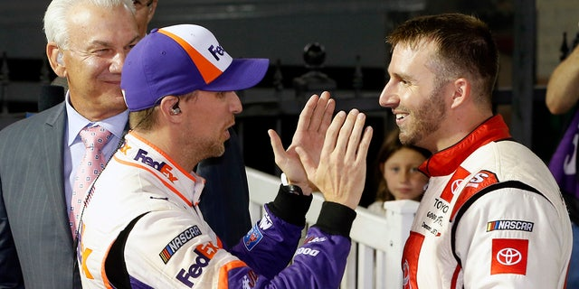 Hamlin consoled DiBenedetto after the race.聽