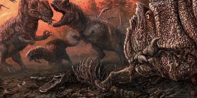 Some dinosaurs may have resorted to cannibalism, a new study reveals. (Illustration by Brian Engh (dontmesswithdinosaurs.com).)