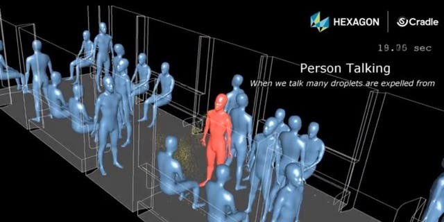 The simulation shows how you can coat someone in coronavirus simply by talking to them.