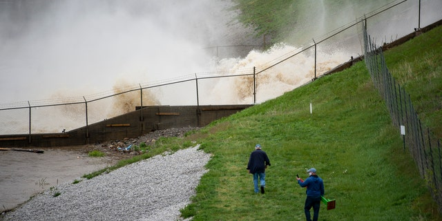 This photo shows a view of the Edenville Dam on Wixom Lake in Edenville, Michigan, May 19.