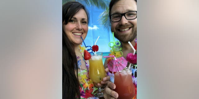 """On Sunday, Jen and Chris visited """"Volcano Bay"""" and drank from a cocktail list in the hot tub."""
