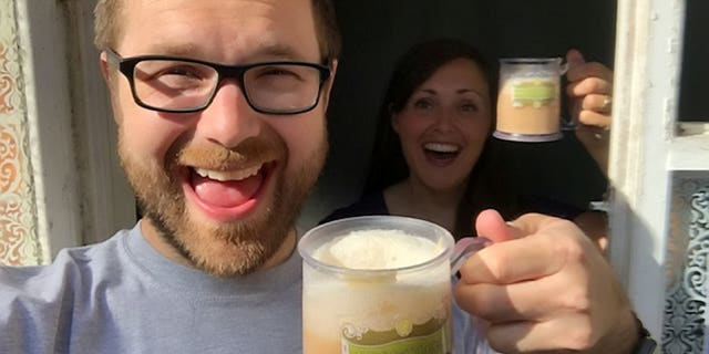 They then visited the fictional Diagon Alley from Harry Potter in their courtyard, and used an online recipe to make butterbeer at 'The Leaky Couldron' pub.