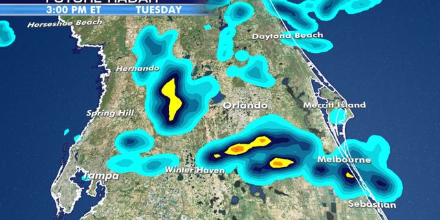 The threat for thunderstorms and heavy rain from a tropical disturbance in Florida on Tuesday.