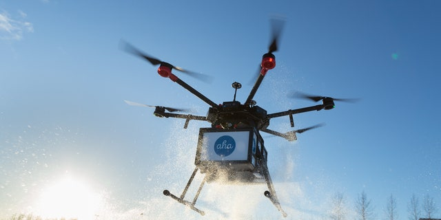 Drone delivery of meals in Iceland, in a partnership with Aha.