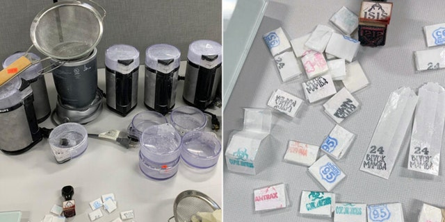 Agents and officers recovered $25,000 cash, as well as all of the packaging equipment and paraphernalia typical of a heroin/fentanyl mill, such as strainers, grinders, gloves, stamps and ink pads.